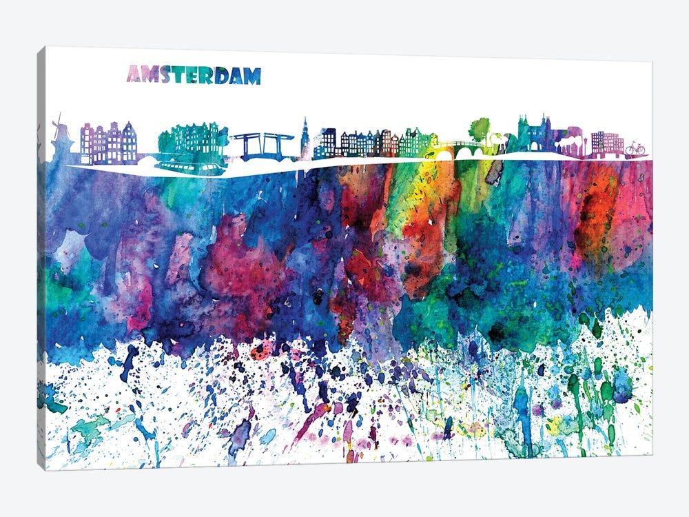 Amsterdam Skyline Impressionistic Splash by Markus & Martina Bleichner 1-piece Art Print