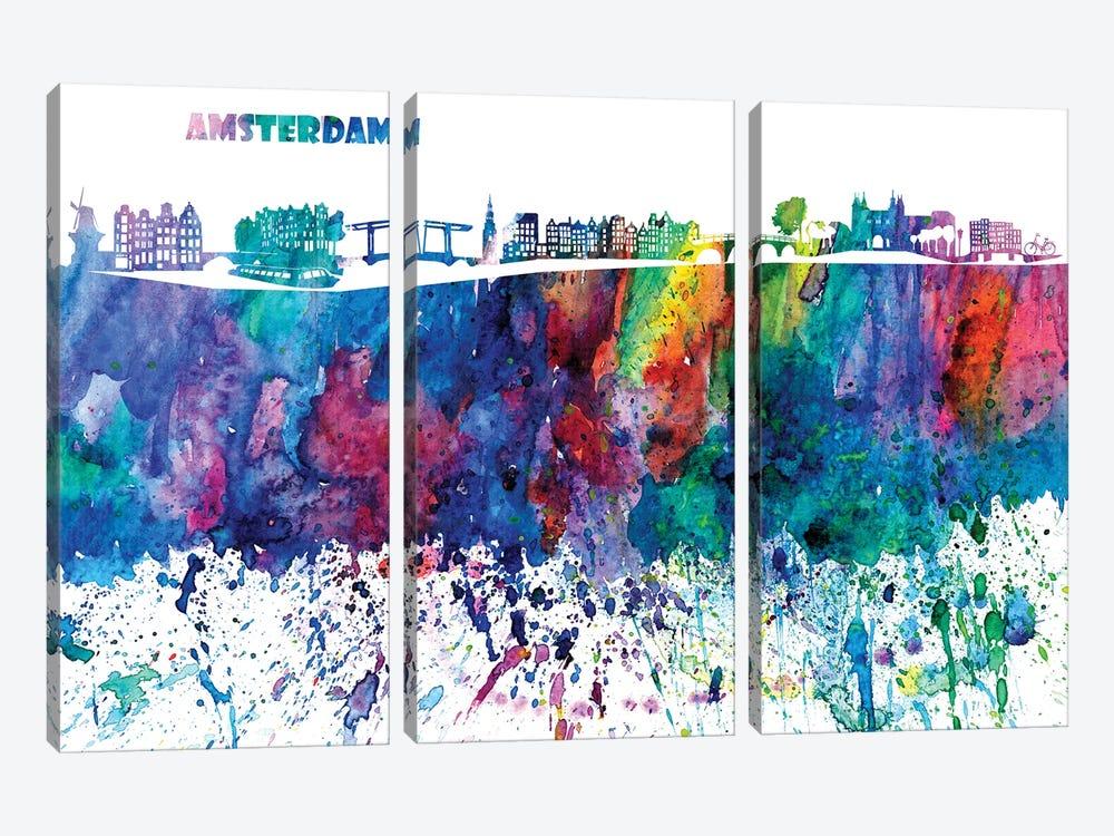 Amsterdam Skyline Impressionistic Splash by Markus & Martina Bleichner 3-piece Canvas Print