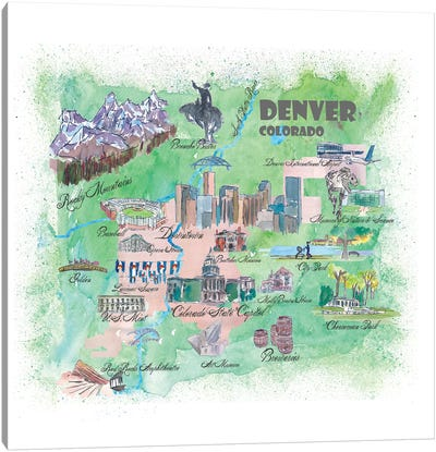 Denver, Colorado Travel Poster Canvas Art Print