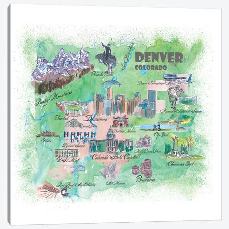Denver, Colorado Travel Poster Canvas Print #MMB14} by Markus & Martina Bleichner Art Print