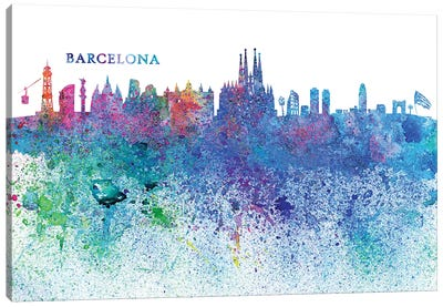 Barcelona Catalonia Spain Skyline Silhouette Impressionistic Splash Canvas Art Print