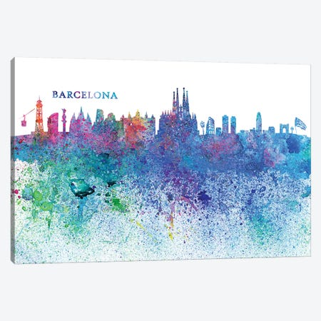 Barcelona Catalonia Spain Skyline Silhouette Impressionistic Splash Canvas Print #MMB150} by Markus & Martina Bleichner Canvas Art Print