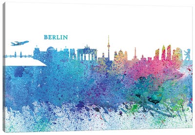 Berlin Germany Skyline Silhouette Impressionistic Splash Canvas Art Print