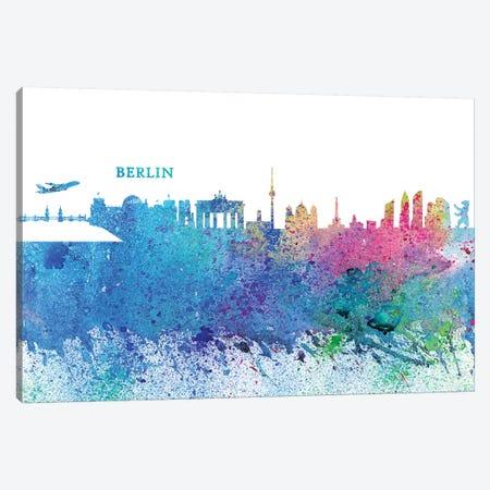 Berlin Germany Skyline Silhouette Impressionistic Splash 3-Piece Canvas #MMB151} by Markus & Martina Bleichner Canvas Art Print