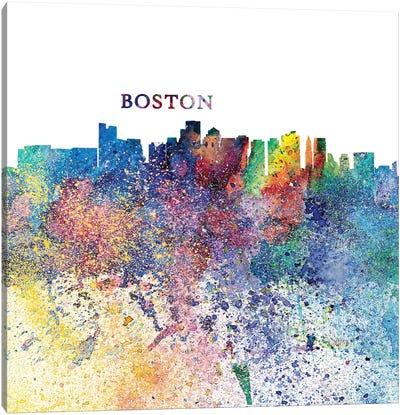 Boston Massachusetts Skyline Silhouette Impressionistic Splash Canvas Art Print