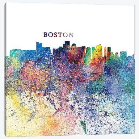 Boston Massachusetts Skyline Silhouette Impressionistic Splash Canvas Print #MMB152} by Markus & Martina Bleichner Canvas Art Print