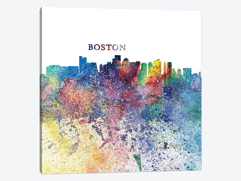 Boston Massachusetts Skyline Silhouette Impressionistic Splash by Markus & Martina Bleichner 1-piece Canvas Print
