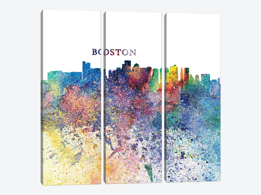 Boston Massachusetts Skyline Silhouette Impressionistic Splash by Markus & Martina Bleichner 3-piece Canvas Art Print