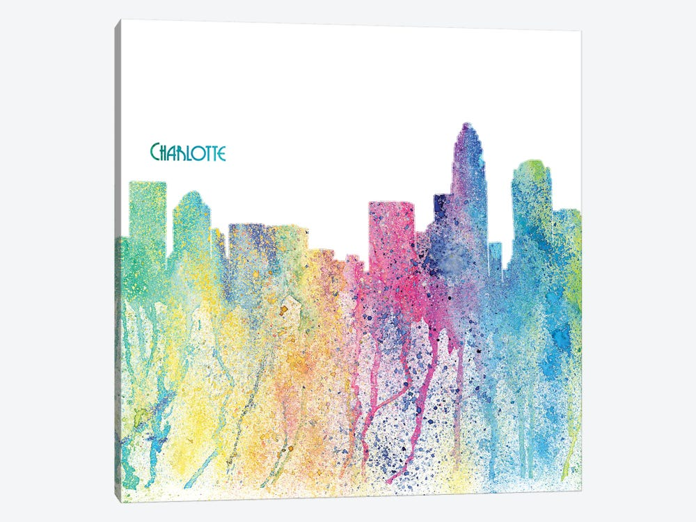 Charlotte North Carolina Skyline Silhouette Impressionistic Splash by Markus & Martina Bleichner 1-piece Canvas Wall Art