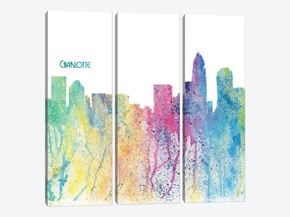 Charlotte North Carolina Skyline Silhouette Impressionistic Splash by Markus & Martina Bleichner 3-piece Canvas Wall Art