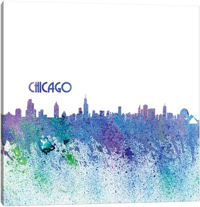 Chicago Illinois Skyline Silhouette Impressionistic Splash Canvas Art Print