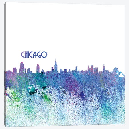 Chicago Illinois Skyline Silhouette Impressionistic Splash Canvas Print #MMB154} by Markus & Martina Bleichner Canvas Artwork