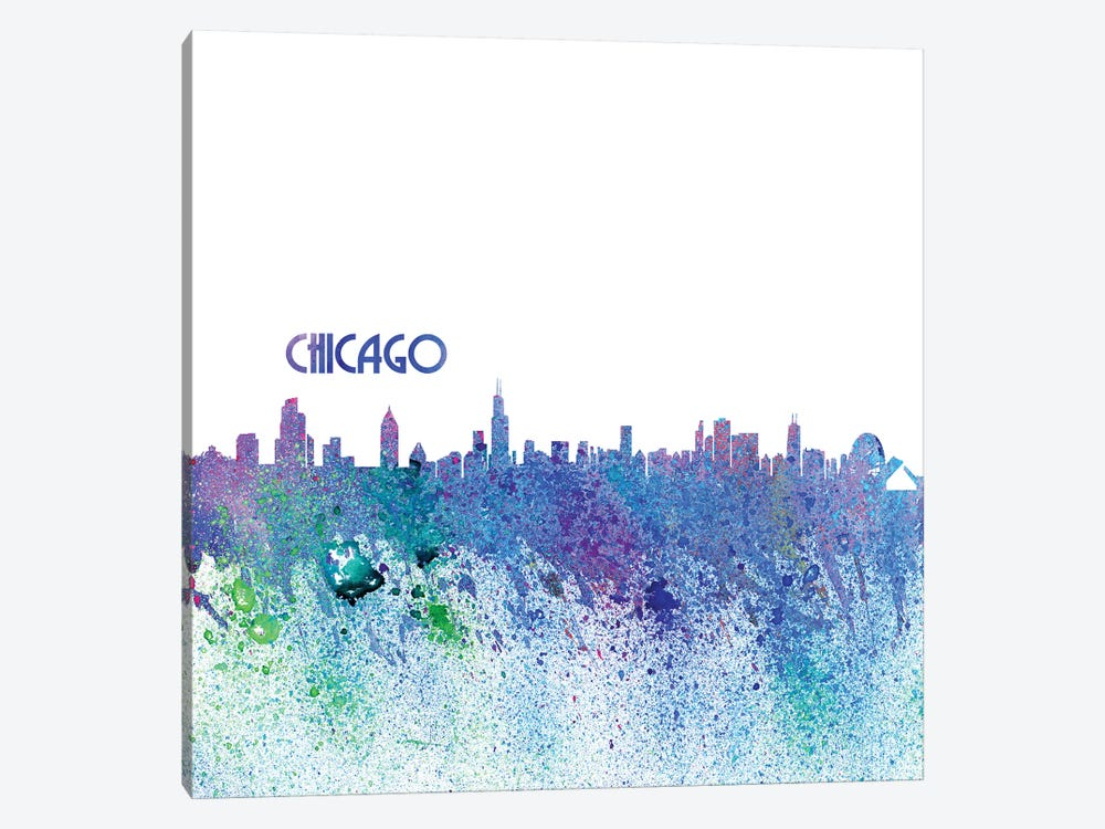Chicago Illinois Skyline Silhouette Impressionistic Splash by Markus & Martina Bleichner 1-piece Canvas Print