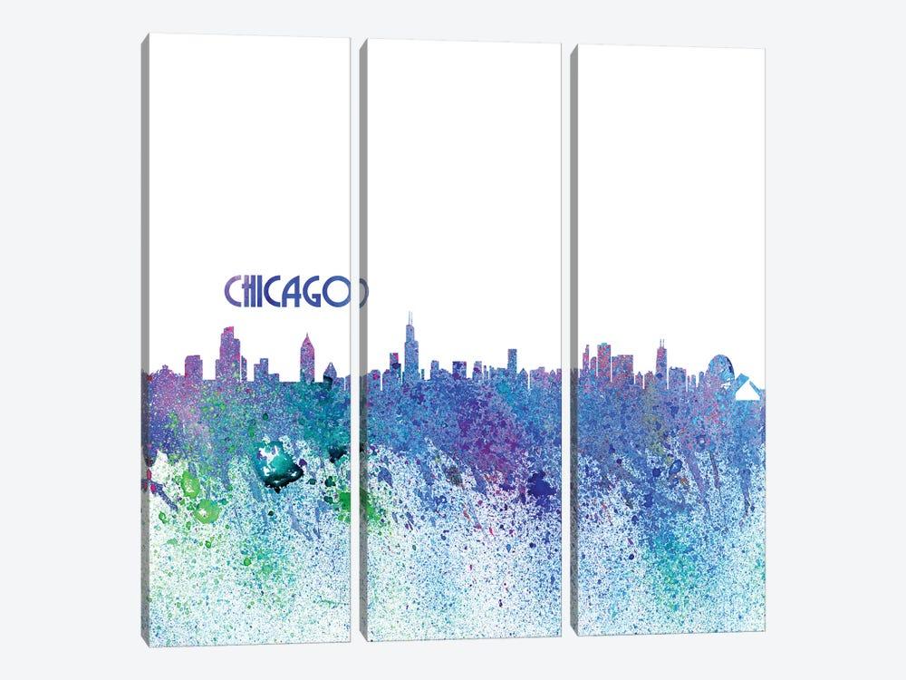 Chicago Illinois Skyline Silhouette Impressionistic Splash by Markus & Martina Bleichner 3-piece Canvas Art Print