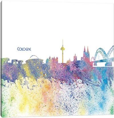 Cologne Germany Skyline Silhouette Impressionistic Splash Canvas Art Print