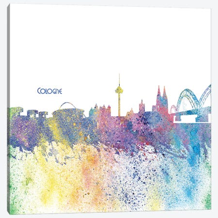 Cologne Germany Skyline Silhouette Impressionistic Splash Canvas Print #MMB155} by Markus & Martina Bleichner Canvas Art