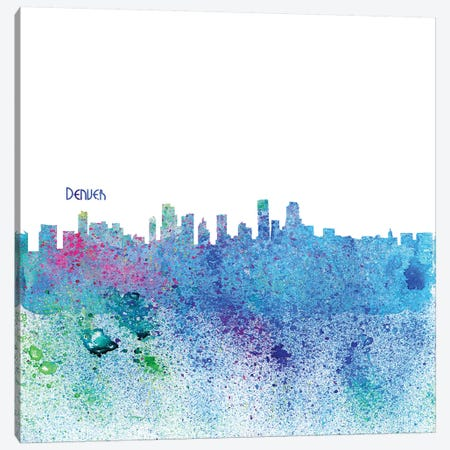 Denver Colorado Skyline Silhouette Impressionistic Splash Canvas Print #MMB156} by Markus & Martina Bleichner Canvas Wall Art