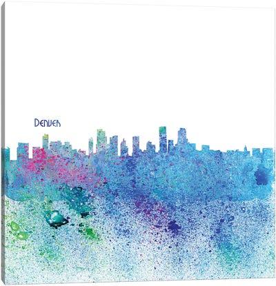 Denver Colorado Skyline Silhouette Impressionistic Splash Canvas Art Print
