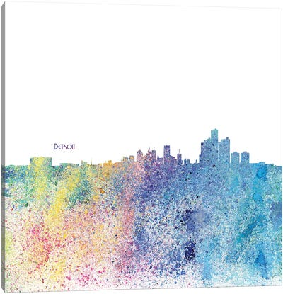 Detroit Michigan Skyline Silhouette Impressionistic Splash Canvas Art Print