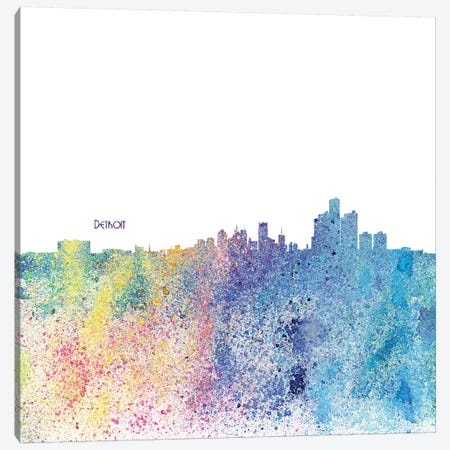 Detroit Michigan Skyline Silhouette Impressionistic Splash 3-Piece Canvas #MMB157} by Markus & Martina Bleichner Canvas Artwork