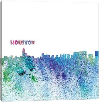 Houston Texas Skyline Silhouette Impressionistic Splash Canvas Art Print