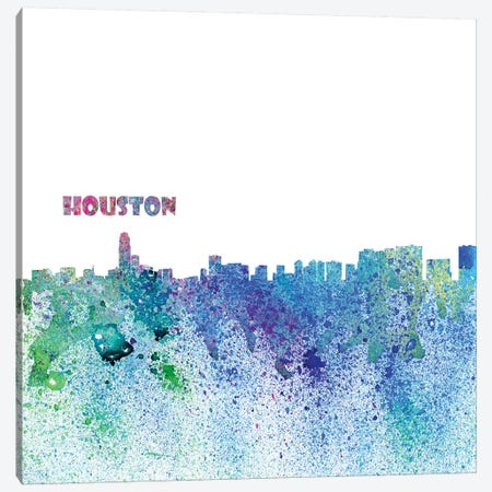 Houston Texas Skyline Silhouette Impressionistic Splash Canvas Print #MMB158} by Markus & Martina Bleichner Canvas Art Print