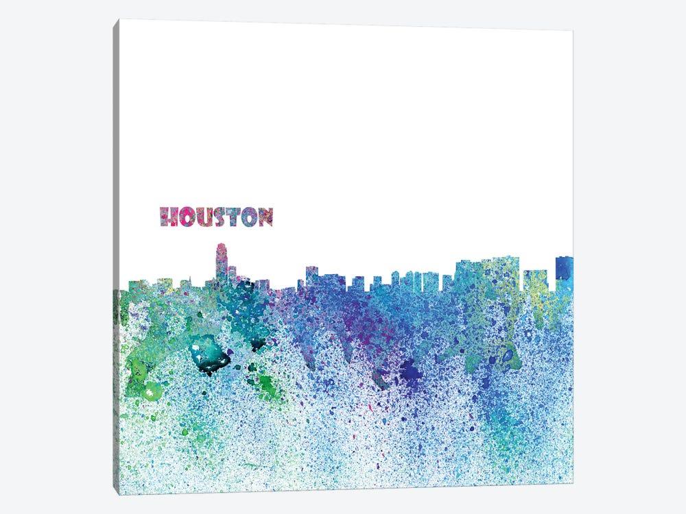 Houston Texas Skyline Silhouette Impressionistic Splash by Markus & Martina Bleichner 1-piece Canvas Art Print