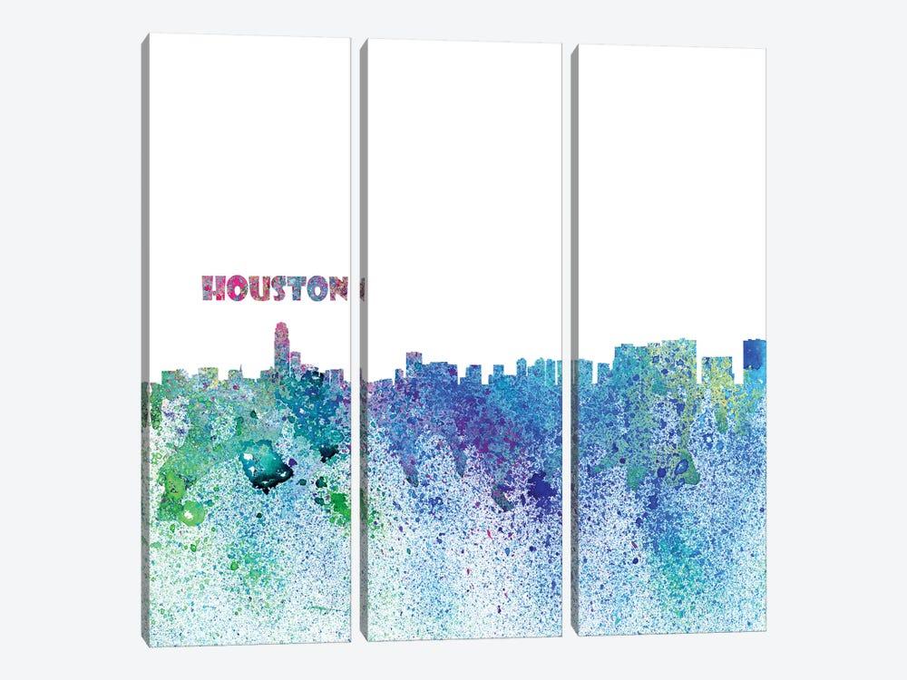 Houston Texas Skyline Silhouette Impressionistic Splash by Markus & Martina Bleichner 3-piece Canvas Print