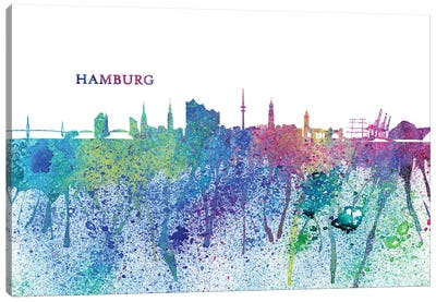 Hamburg Germany Skyline Silhouette Impressionistic Splash Canvas Art Print