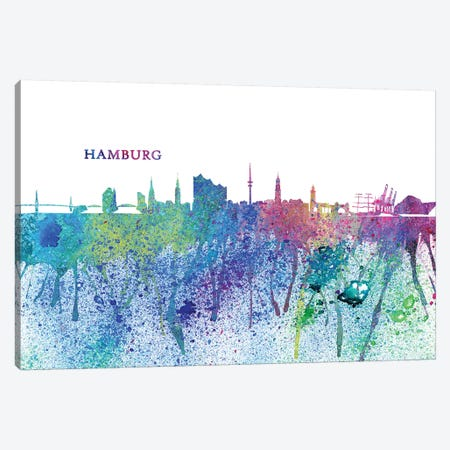 Hamburg Germany Skyline Silhouette Impressionistic Splash Canvas Print #MMB159} by Markus & Martina Bleichner Canvas Print