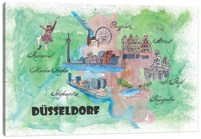 Dusseldorf, Germany Travel Poster Canvas Art Print