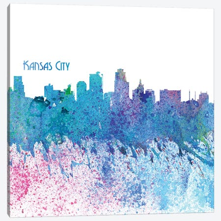 Kansas City Missouri Skyline Silhouette Impressionistic Splash Canvas Print #MMB160} by Markus & Martina Bleichner Canvas Wall Art