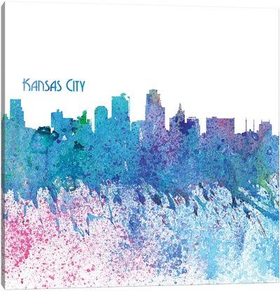 Kansas City Missouri Skyline Silhouette Impressionistic Splash Canvas Art Print