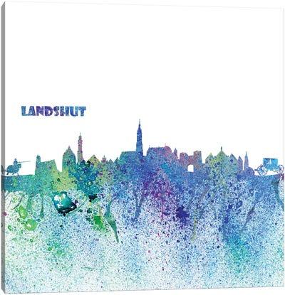 Landshut Germany Skyline Silhouette Impressionistic Splash Canvas Art Print