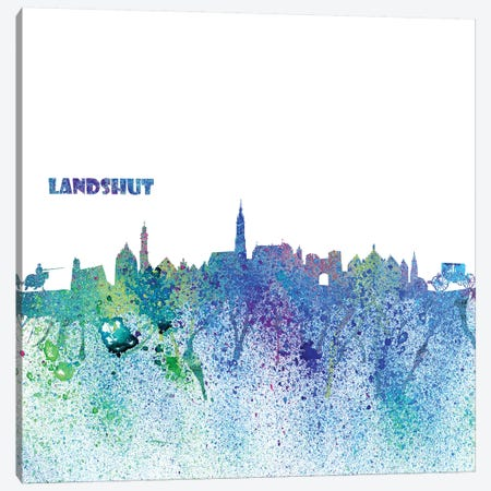Landshut Germany Skyline Silhouette Impressionistic Splash Canvas Print #MMB161} by Markus & Martina Bleichner Canvas Wall Art