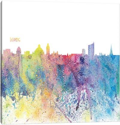 Leipzig Germany Skyline Silhouette Impressionistic Splash Canvas Art Print