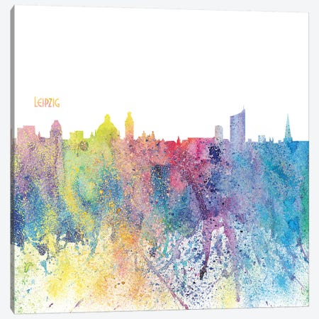 Leipzig Germany Skyline Silhouette Impressionistic Splash Canvas Print #MMB162} by Markus & Martina Bleichner Canvas Artwork