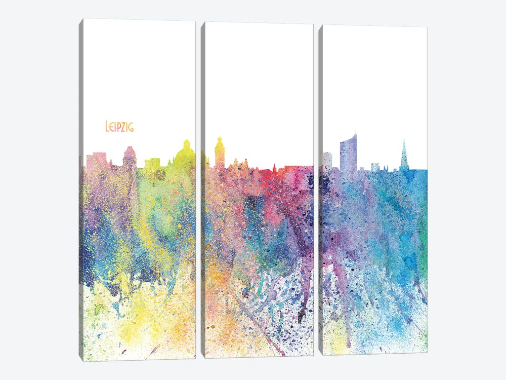 Leipzig Germany Skyline Silhouette Impressionistic Splash by Markus & Martina Bleichner 3-piece Canvas Artwork