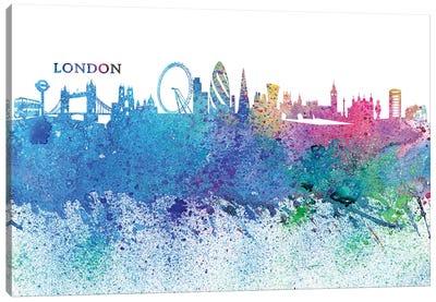 London England Skyline Silhouette Impressionistic Splash Canvas Art Print