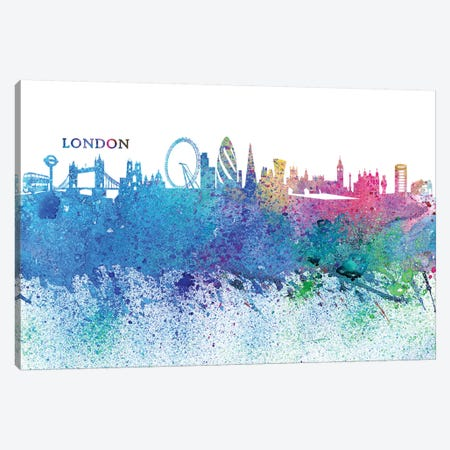 London England Skyline Silhouette Impressionistic Splash Canvas Print #MMB163} by Markus & Martina Bleichner Canvas Artwork