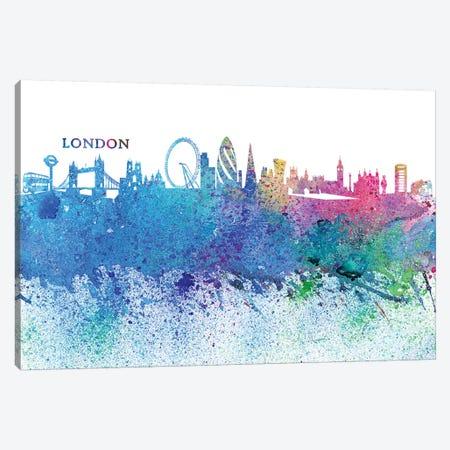 London England Skyline Silhouette Impressionistic Splash Canvas Print #MMB163} by Markus & Martina Bleichner Canvas Artwork