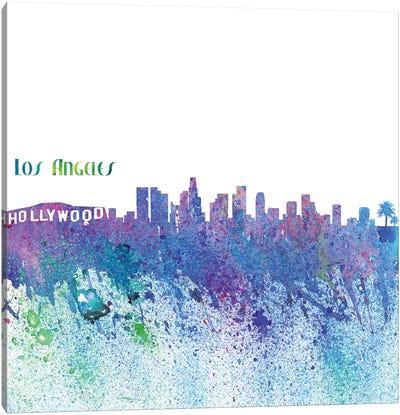 Los Angeles California Skyline Silhouette Impressionistic Splash Canvas Art Print