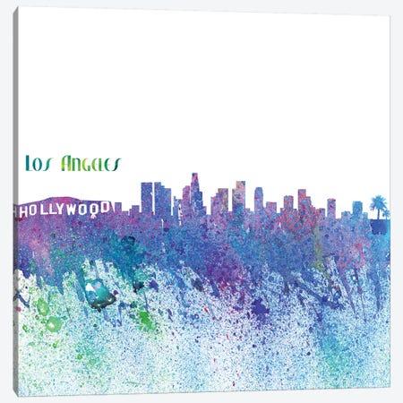 Los Angeles California Skyline Silhouette Impressionistic Splash Canvas Print #MMB164} by Markus & Martina Bleichner Canvas Print