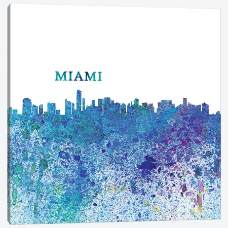 Miami Florida Skyline Silhouette Impressionistic Splash 3-Piece Canvas #MMB165} by Markus & Martina Bleichner Canvas Print