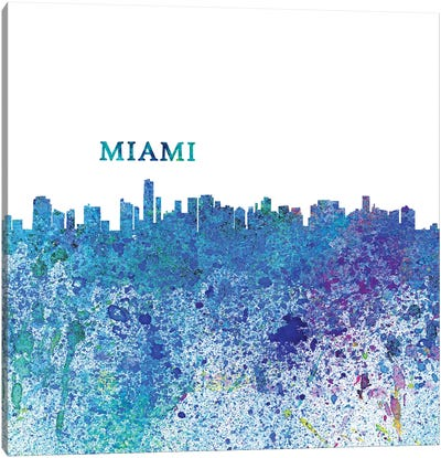 Miami Florida Skyline Silhouette Impressionistic Splash Canvas Art Print