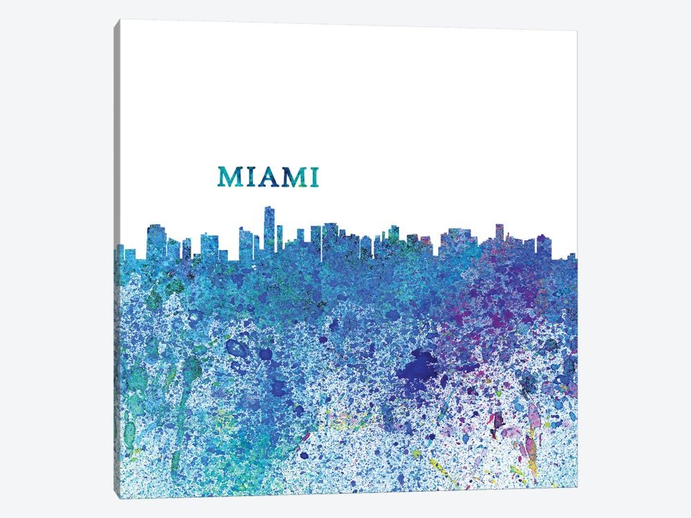 Miami Florida Skyline Silhouette Impressionistic Splash by Markus & Martina Bleichner 1-piece Canvas Print