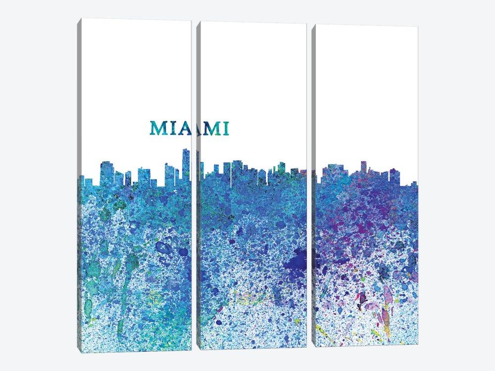 Miami Florida Skyline Silhouette Impressionistic Splash by Markus & Martina Bleichner 3-piece Canvas Art Print