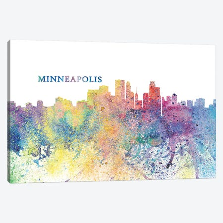 Minneapolis Minnesota Skyline Silhouette Impressionistic Splash Canvas Print #MMB166} by Markus & Martina Bleichner Canvas Art Print