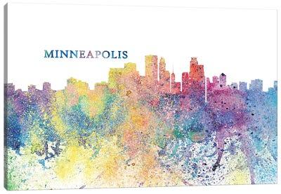 Minneapolis Minnesota Skyline Silhouette Impressionistic Splash Canvas Art Print