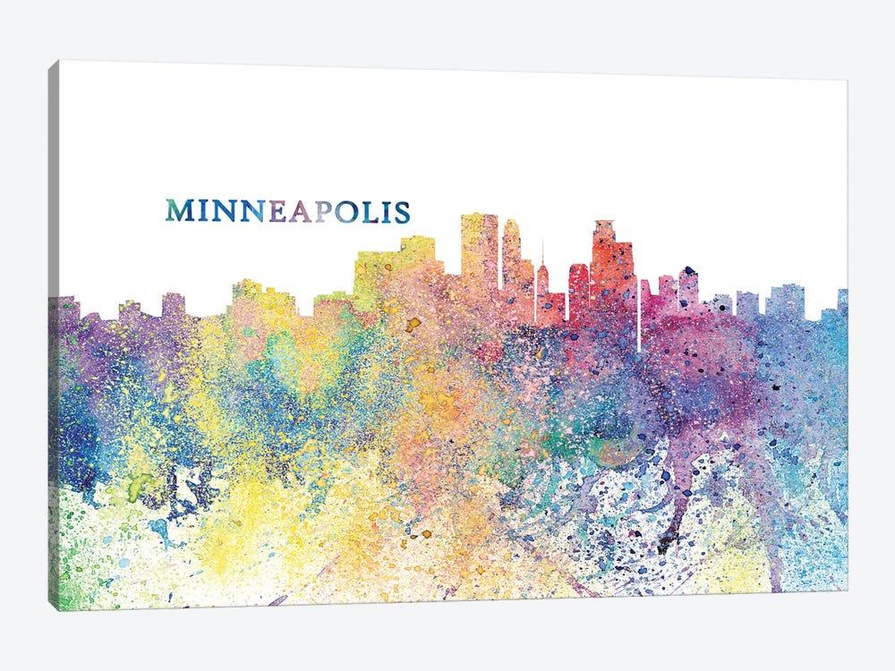 Minneapolis Minnesota Skyline Silhouette Impressionistic Splash by Markus & Martina Bleichner 1-piece Canvas Art